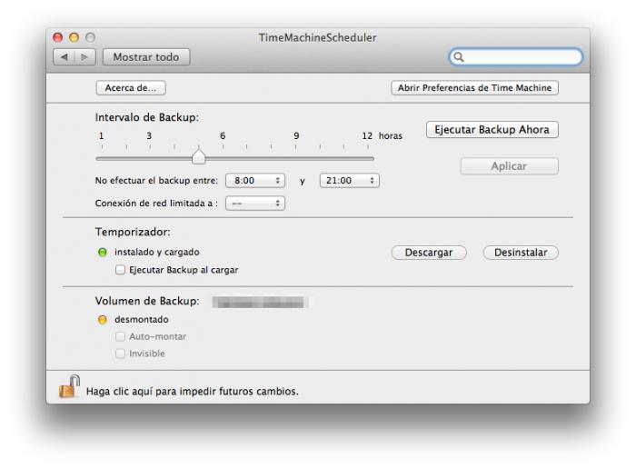 Configuración de TimeMachineScheduler