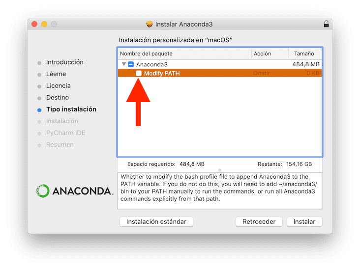 Instalar Anaconda sin modificar PATH